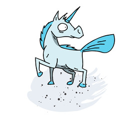 Unicorn cartoon hand drawn image. Original colorful artwork, comic childish style drawing.