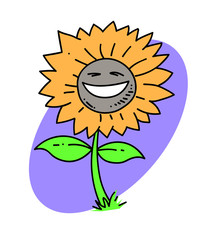 Sunflower cartoon hand drawn image. Original colorful artwork, comic childish style drawing.