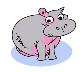 Hippopotamus cartoon hand drawn image. Original colorful artwork, comic childish style drawing.