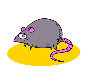 Fat rat cartoon hand drawn image. Original colorful artwork, comic childish style drawing.