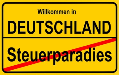 Sign city limits, symbolic image for tax havens outside Germany