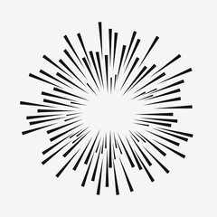 Comic explosion effect. Radial moving lines. Sunburst element. Sun rays. Vector illustration.