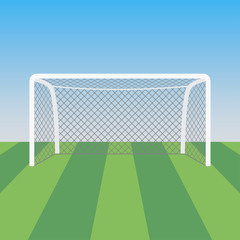 Soccer goal and grass in the football stadium. Sports background for poster. Vector illustration.