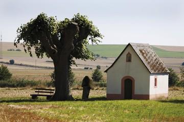 Kleine Marienkapelle Chapel on a field between Mendig and Ochtendung, Mayen-Koblenz, Rhineland-Palatinate, Germany, Europe