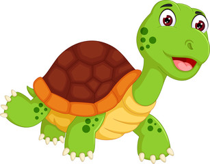 funny turtle cartoon walking with smile