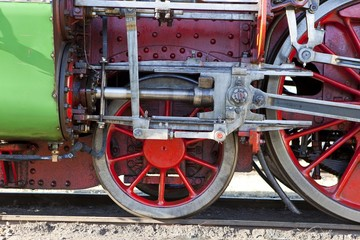 Drive wheels of a historic steam locomotive