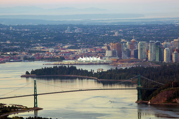 Vancouver BC Skyline by Stanley Park Canada