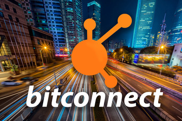 Concept of  Bitconnect,  a Cryptocurrency blockchain, Digital money