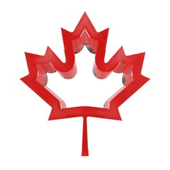Red maple leaf, symbol of Canada, 3D illustration