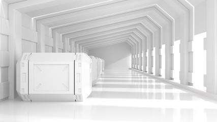 Sci-fi interior concept. 3d rendering