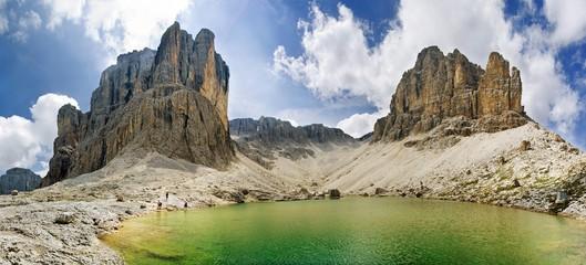 Lake Pisciadu with Pisciadu peak on the Sella massif, province of Bolzano-Bozen, Italy, Europe