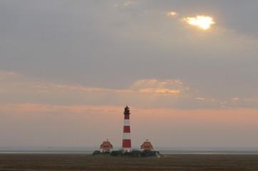 Westerhever lighthouse at sunset, Schleswig-Holstein, Germany, Europe