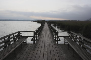 On the Federsee footbridge at Federsee lake before sunrise, nature reserve, with 33 square kilometers the largest bog in southwest Germany, district of Biberach, Upper Swabia, Baden-Wuerttemberg, Germany, Europe