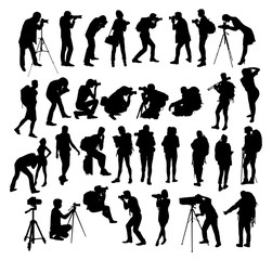 Backpacker and Photographer Silhouettes, art vector design