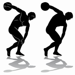 illustration of discus thrower, vector draw
