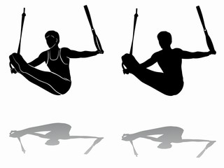 silhouette of gymnast on still rings, vector draw