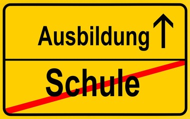 Sign, city limit, symbolic image for the transition from Schule or school to Lehre or vocational training