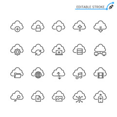 Cloud computing thin icons. Editable stroke. Pixel perfect.