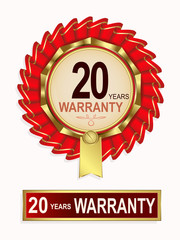emblem of red color with the text of twenty years warranty
