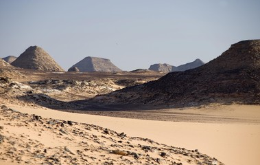 Desert, rocks, landscape on Lake Nasser, Egypt, Africa