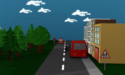 Straßenszene in der Kinder hinter einem Auto stehen und auf die Straße rennen.