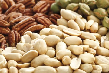 Mixed nuts, full format, peanuts, salted pistachios, pecan nuts