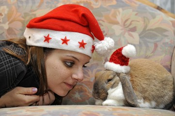 Girl and a European Dwarf Rabbit (Oryctolagus cuniculus) wearing Santa hats