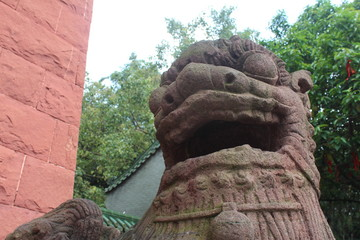 Old Chinese Stone Guardian Dragon outside of a Temple in Guangdong Canton China Asia