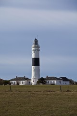 Rotes Kliff lighthouse, built in 1855, near Kampen, Sylt Island, North Frisian Islands, Schleswig-Holstein, Germany, Europe