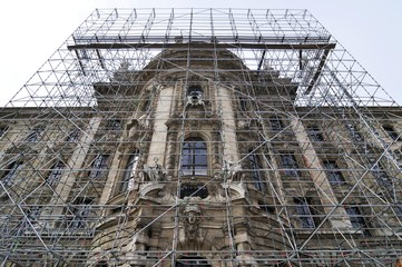 Justizpalast Palace of Justice with scaffolding, Munich, Bavaria, Germany, Europe
