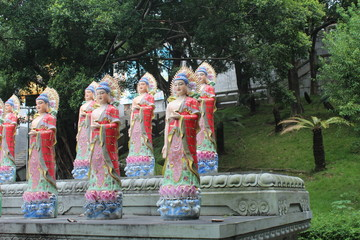 Buddha Statues in a Buddhist Temple in Guangdong China Asia