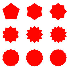 Collection of trendy retro stars shapes. Sunburst design elements set. Bursting rays clip art. Red sparkles.
