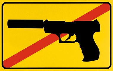 Sign city limit, symbolic of Prohibition of Firearms