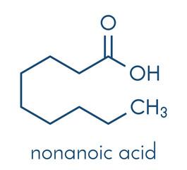 Nonanoic acid (pelargonic acid) molecule. Ammonium salt used as broad-spectrum herbicide. Skeletal formula.