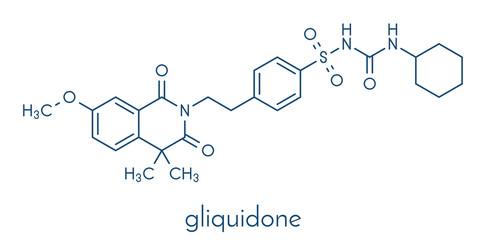 Gliquidone diabetes drug molecule. Skeletal formula.
