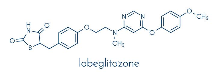 Lobeglitazone diabetes drug molecule. Skeletal formula.