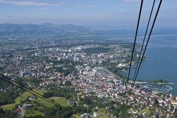 View from the Pfaender cable car over Bregenz, Pfaender Mountain, Lake Constance, Vorarlberg, Austria, Europe