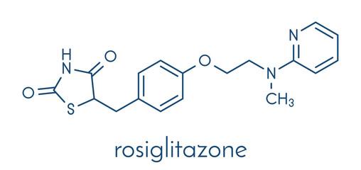 Rosiglitazone diabetes drug molecule. Skeletal formula.