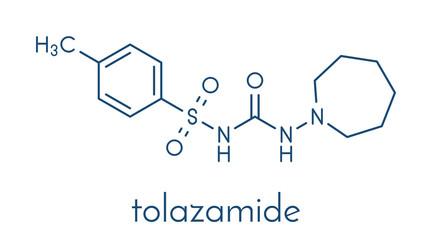 Tolazamide diabetes drug molecule. Skeletal formula.