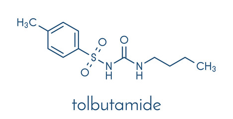 Tolbutamide diabetes drug molecule. Skeletal formula.