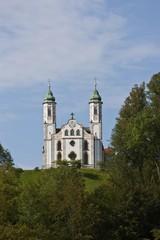 View of Leonhardskapelle chapel and Kirche Heilig Kreuz, Church of the Holy Cross, Kalvarienberg, Bad Toelz, Upper Bavaria, Bavaria, Germany, Europe, PublicGround, Europe