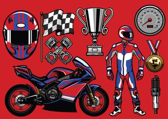 set of sportbike racing elements