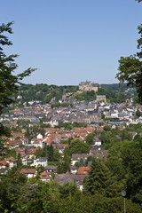 View of Marburg an der Lahn with the towntown, in the back the Marburger Schloss castle, University Museum of Cultural History, Lutherkirche church, Alte Universitaet university and the university church of Marburg, Hesse, Germany, Europe