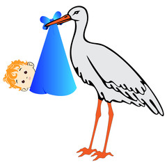 Vector stork with baby boy