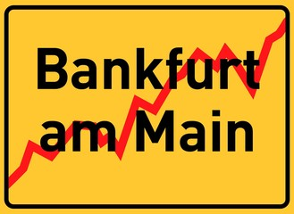 City sign Bankfurt am Main, symbolic image for the banking metropolis Frankfurt am Main, Hesse, Germany, Europe