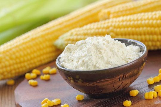 Corn flour and corn cob on the table