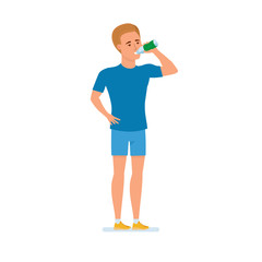 Young athlete goes in for sports, rests, drinks water, relaxes.