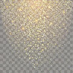 Festive explosion of confetti. Gold glitter background for the card, invitation.