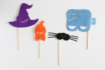 Photo booth colorful props for Halloween party - Witch hat, Monster shaped mask, Pumpkin shaped tie, Cat mustache