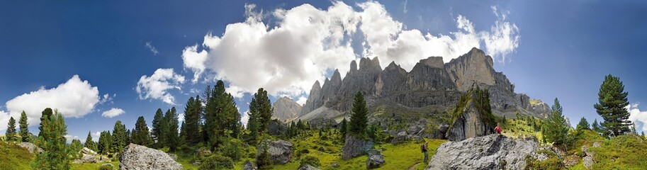 360 panorama of the Geisler mountains as seen from the north, Puez-Geisler National Park, Wolkenstein, Alto Adige, Italy, Europe